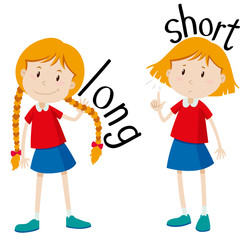 Opposite adjectives long and short