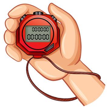 Person using digital stopwatch