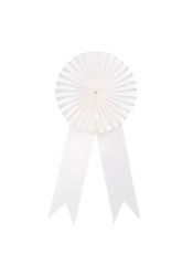 White fabric award ribbon isolated on white background