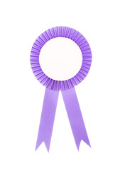Purple fabric award ribbon isolated on white background