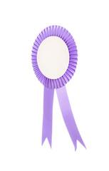Purple fabric award ribbon isolated on white background