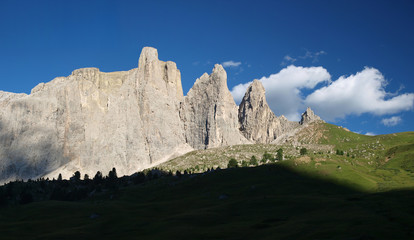 Sella Group Mountains In The Dolomite Alps, Italy