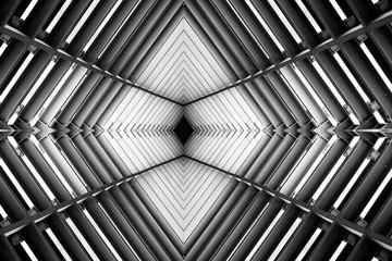 metal structure similar to spaceship interior black and white ph