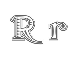 Font tattoo engraving letter R