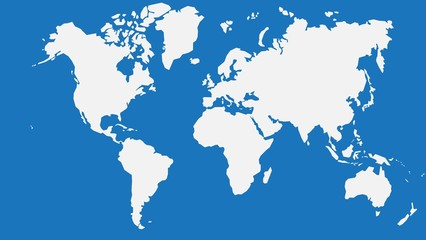 Simplicity outline world map on blue background. Vector illustration.