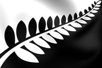 Silver Fern (Black & White) Flag, Proposal Flag New Zealand.