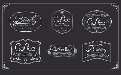 Coffee label on dark background