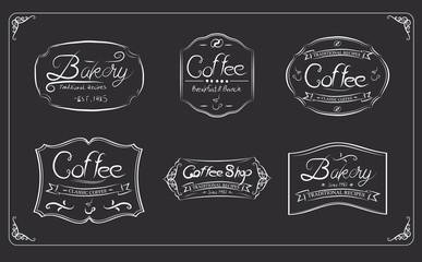 Coffee label on dark background