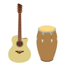 Guitar and conga drum vector illustration