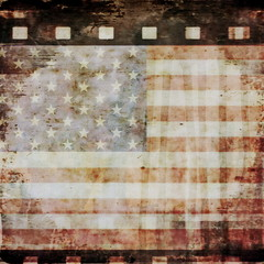 grunge film strip background and old  grunge USA flag
