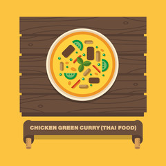 Thailand's national dishes,Chicken green curry - Vector flat