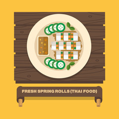 Thailand's national dishes,Fresh spring rolls - Vector flat desi
