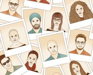 Handgezeichnete Polaroid Portraits