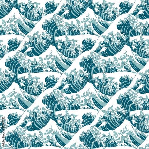 Hintergrundmuster Seamless Pattern Die Große Welle Vor Kanagawa