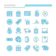 Shopping colored Linear Outline icons set