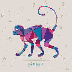 Happy new year 2016 creative greeting card with monkey made of triangles