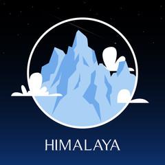 Great Himalayas mountain snow peak on night scene. Background landscape. Vector Illustration
