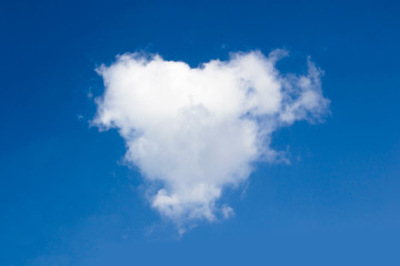 Clouds heart in the blue sky.