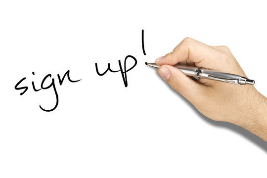 hand writing sign up on white sheet with ballpoint