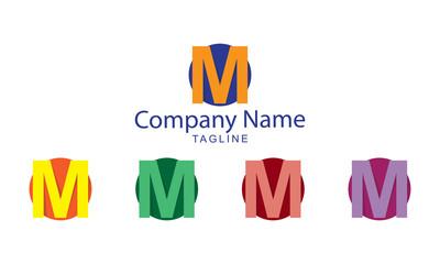 M Letter Logo Vector - M Folds Flat Design