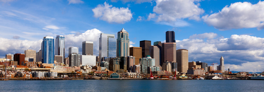 Panoramic view of Seattle skyline and waterfront, viewed from the water