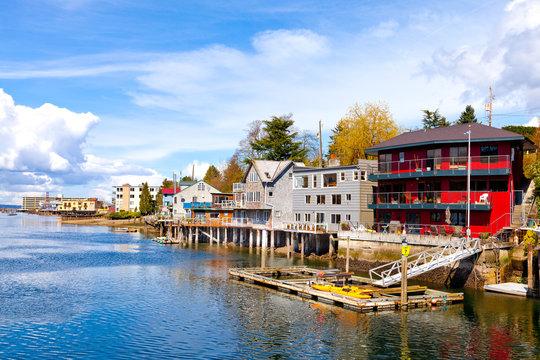 Waterfront houses in Ballard, Washington, a neighborhood in Seattle.