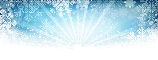 Winter vector wallpaper. Snow, snowfall, snowflakes and shiny effect with glowing lines.