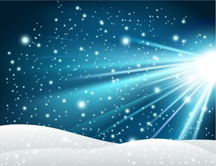 Winter background with shiny blue light