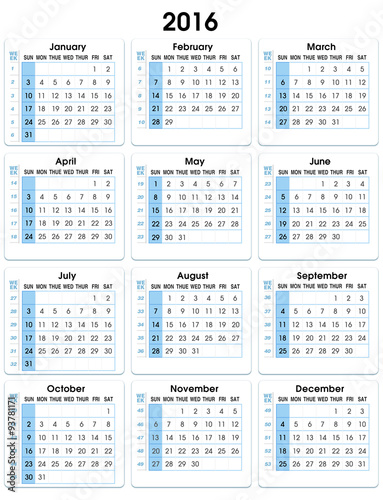 vertical calendar 2016 with weeks stock photo and royalty free