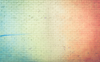 Colored wall background rainbow style. concept about brick walls and backgrounds
