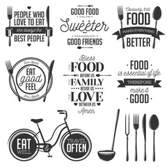 Set of vintage food related typographic quotes. Vector