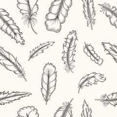 Feathers seamless pattern. Hand drawn vintage vector