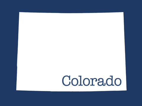 Colorado state outline illustration with blue background