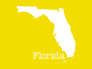Florida state outline illustration on yellow background