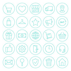 Line Circle Online Shopping E-commerce Website Icons Set