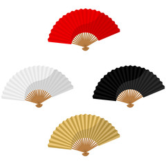Set of foldnig fans
