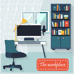 Flat vector design. Workspace for freelancer and home work.