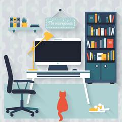 Flat interior vector design. Workspace for freelancer