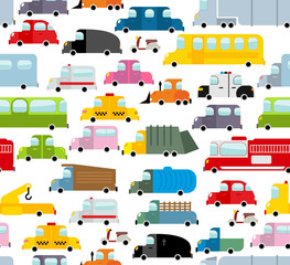Car seamless pattern. Background of transport in cartoon style.