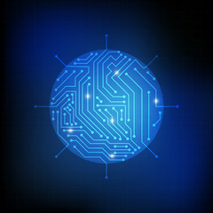 Vector : Circle chip and electronic circuit on blue background