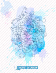 Illustration with monsters on watercolor background. Outline illustration.