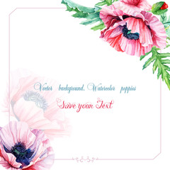 Greeting card with watercolor pink poppies.