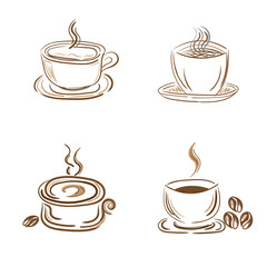 set of steamy coffee and tea cups, sketch style, doodle, vector illustration