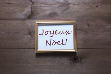 Golden Picture Frame With Joyeux Noel Merry Christmas