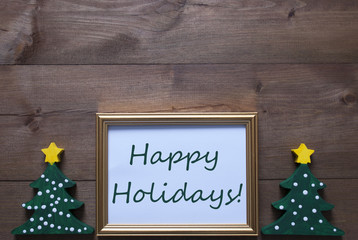 Picture Frame With Christmas Tree And Text Happy Holidays