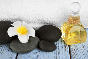 Acrylic Prints Beautiful spa composition with stones on table close up