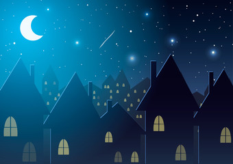Vector illustration. Night city against the stars and the moon.