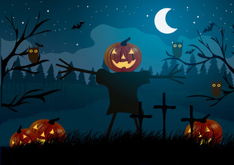 Vector illustration. Halloween. Scarecrow with pumpkin among graveyard, bats and owls.