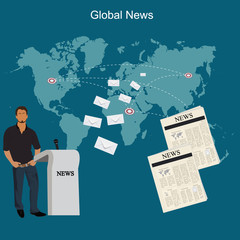 global news concept, flat style, vector illustration, template