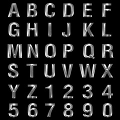 3d Metal Beveled Font Alphabet on black background.